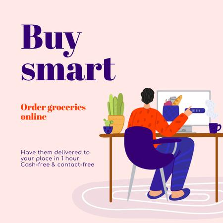 Ontwerpsjabloon van Instagram van Buy Smart Quote with Man shopping Online