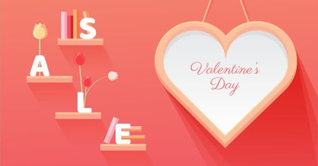 Plantilla de diseño de Valentine's Day Sale with Big Heart Facebook AD