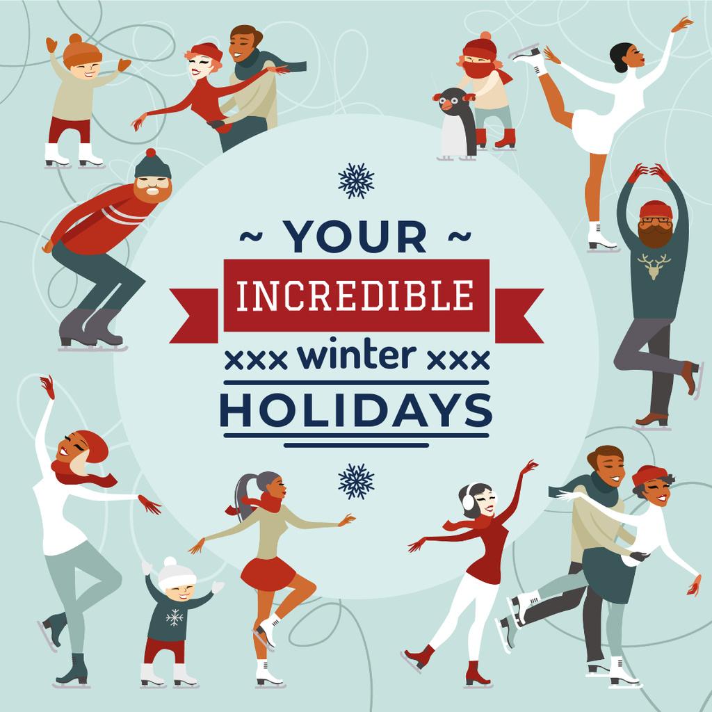 People doing Winter activities Instagram – шаблон для дизайна