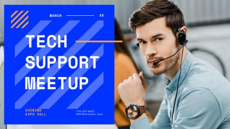 Tech Conference announcement Customers Support Consultant in headset FB event cover Modelo de Design
