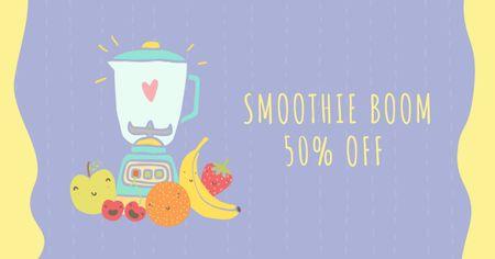 Designvorlage Raw Fruits with Kitchen Blender für Facebook AD