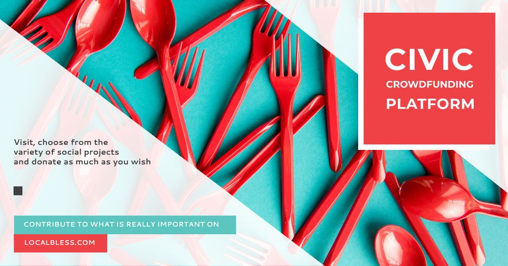 Designvorlage Crowdfunding Platform Red Plastic Tableware für Facebook AD