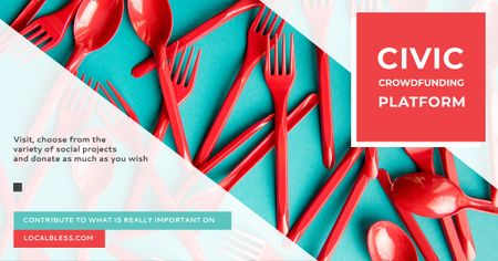 Crowdfunding Platform Red Plastic Tableware Facebook AD – шаблон для дизайна