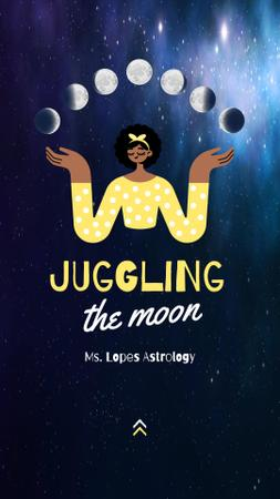Funny Illustration of Woman juggling Moon Instagram Story Design Template