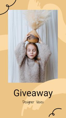 Vases Giveaway announcement with funny Girl Instagram Storyデザインテンプレート