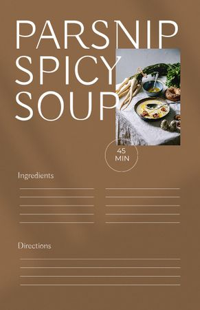 Template di design Parsnip Spicy Soup with Ingredients on Table Recipe Card