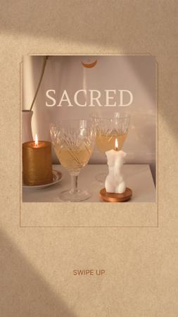 Plantilla de diseño de Astrology Inspiration with Wine Glasses and Candles Instagram Story