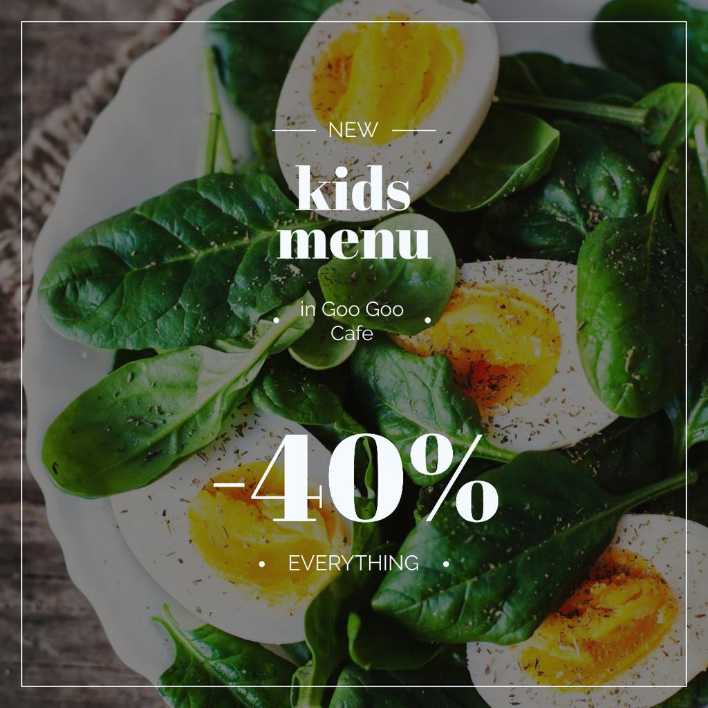 Designvorlage Kids Menu Offer Boiled Eggs with Spinach für Instagram AD