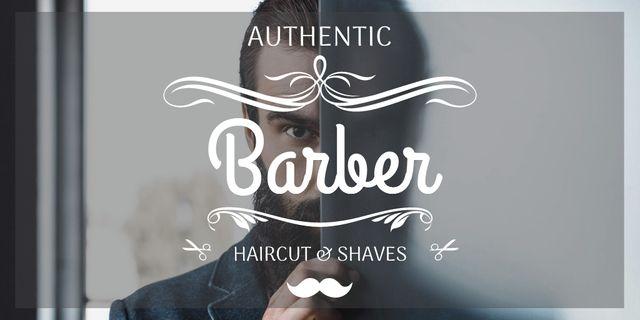 Ontwerpsjabloon van Twitter van Advertisement for Barbershop