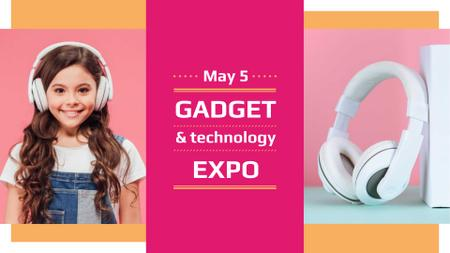 Plantilla de diseño de Gadgets Expo Announcement with Girl in Headphones FB event cover
