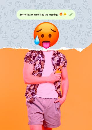 Modèle de visuel Funny Illustration of Hot Face Emoji with Male Body - Poster