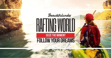 Plantilla de diseño de Rafting world with Girl in boat Facebook AD