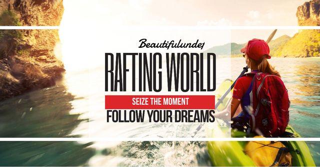 Szablon projektu Rafting world with Girl in boat Facebook AD