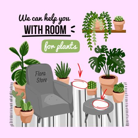 Ontwerpsjabloon van Instagram van Flowers Store Services Offer with Houseplants