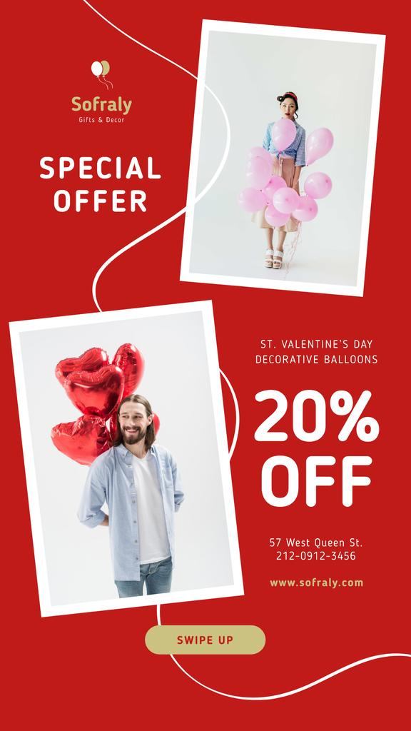 Modèle de visuel Valentine's Day Balloons Sale in Red - Instagram Story