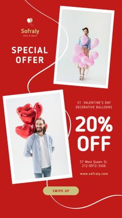 Valentine's Day Balloons Sale in Red Instagram Story – шаблон для дизайна