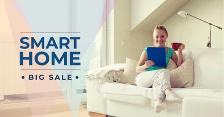 Template di design Smart Home Gadgets Offer with Woman on sofa Facebook AD
