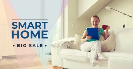 Smart Home Gadgets Offer with Woman on sofa Facebook AD Modelo de Design