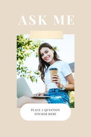 Question Form with Attractive Woman in white Pinterest Design Template