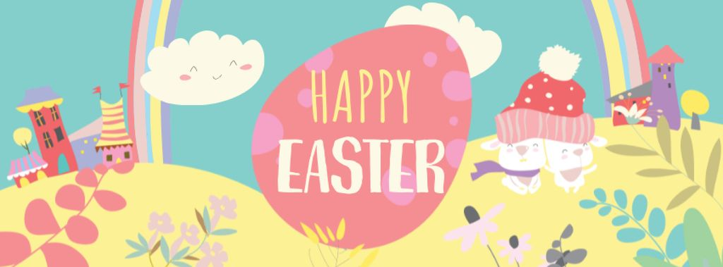 Bright Easter Greeting with Funny Illustration Facebook cover – шаблон для дизайна