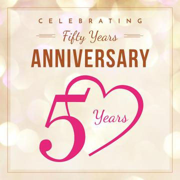 50 years Anniversary greeting in pink