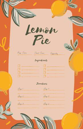 Platilla de diseño Lemon Pie Cooking Steps Recipe Card
