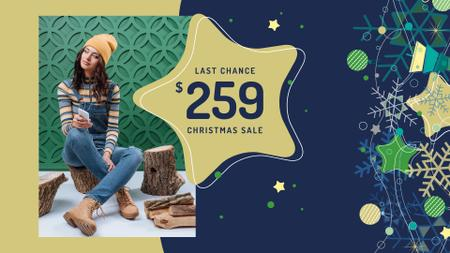 Christmas Sale Girl in Denim Overalls FB event cover Design Template