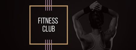 Ontwerpsjabloon van Facebook cover van Fitness Club Ad with Woman's Fit Strong Body
