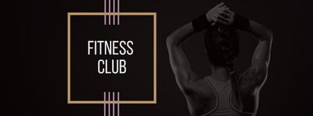 Fitness Club Ad with Woman's Fit Strong Body Facebook cover Tasarım Şablonu