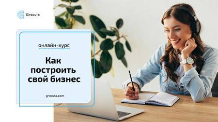 Online Courses ad Girl Studying with Laptop Full HD video – шаблон для дизайна