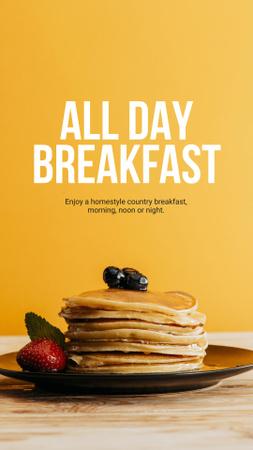 Plantilla de diseño de Breakfast Offer with Sweet Pancakes in Orange Instagram Story