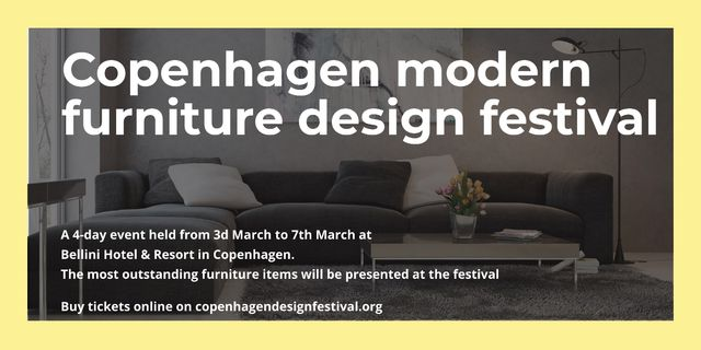 Interior Decoration Event Announcement with Sofa in Grey Image Design Template