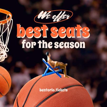 Basketball Tickets Offer with Man sitting on Huge Ball Instagram – шаблон для дизайну