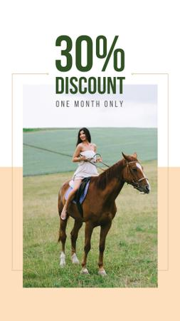 Template di design Riding School Promotion with Woman on Horse Instagram Story
