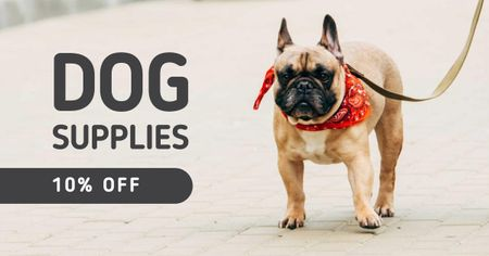 Plantilla de diseño de Dog Supplies Discount Offer with Bulldog Facebook AD