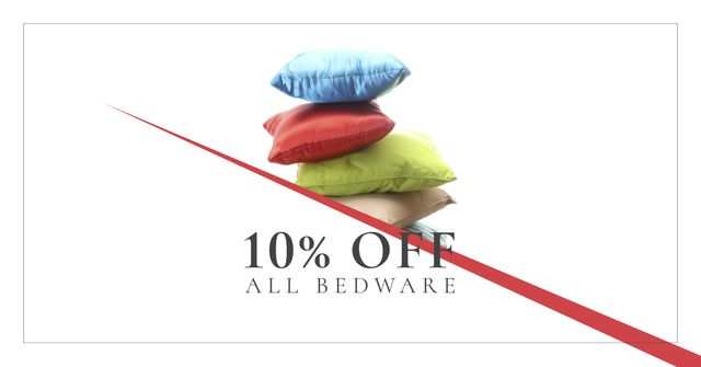 Designvorlage Home Textiles Ad with Colorful Pillows für Facebook AD