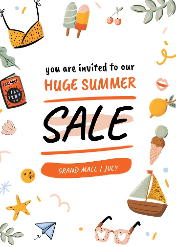Summer Sale Bright Announcement Invitation Modelo de Design