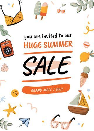 Designvorlage Summer Sale Bright Announcement für Invitation