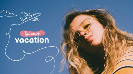 Designvorlage Summer Inspiration with Cute Girl and Plane für Youtube Thumbnail