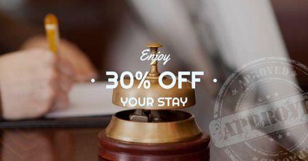 Modèle de visuel Hotel Offer with Bell at Reception Desk - Facebook AD