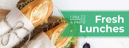 Fresh lunches happy hours Facebook cover Modelo de Design