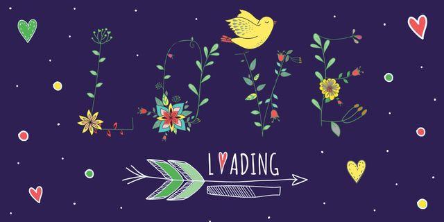 Modèle de visuel Bird with Love on Blue on Valentine's Day - Image