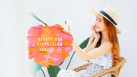 Beauty Ad with Woman applying Cream FB event coverデザインテンプレート