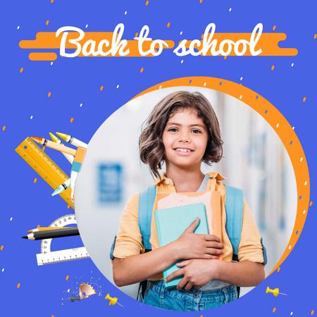 Plantilla de diseño de Back to School Offer with Smiling Schoolgirl with Books Animated Post