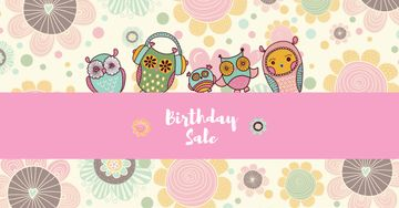 Birthday Sale Offer with Cute Owls