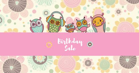 Birthday Sale Offer with Cute Owls Facebook AD Tasarım Şablonu
