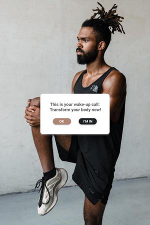 Sport Motivation with Young Man stretching Pinterest – шаблон для дизайна