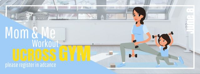 Modèle de visuel Mother and daughter training in gym - Facebook Video cover