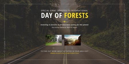 Plantilla de diseño de International Day of Forests Event with Forest Road View Twitter