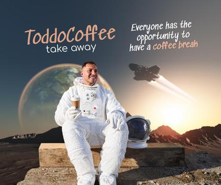 Funny Illustration of Astronaut with Coffee Facebook – шаблон для дизайна